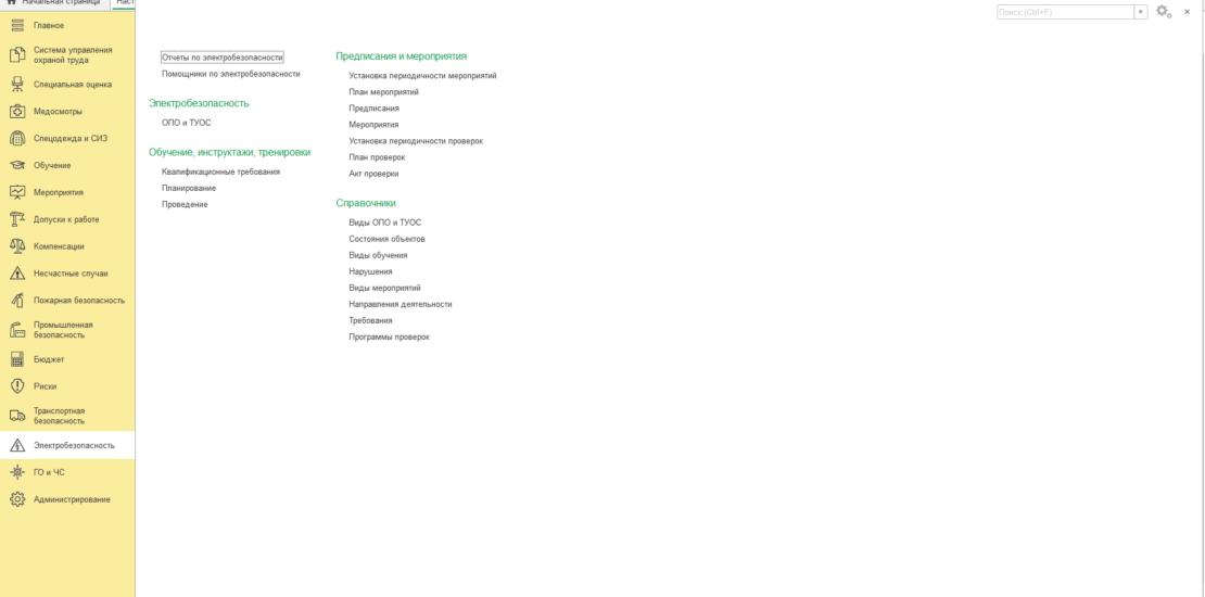 Начальная страница подсистемы Электробезопасность программы Охрана труда для 1С:Предприятие